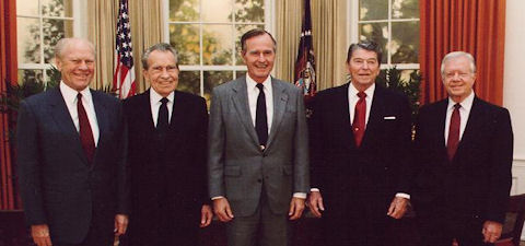Gerald Ford, Richard Nixon, HW Bush, Ronald Reagan, Jimmy Carter