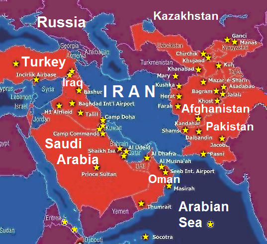 US military bases surrounding Iran